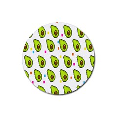 Avocado Seeds Green Fruit Plaid Rubber Coaster (round)  by Mariart