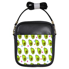 Avocado Seeds Green Fruit Plaid Girls Sling Bags by Mariart