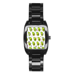 Avocado Seeds Green Fruit Plaid Stainless Steel Barrel Watch by Mariart