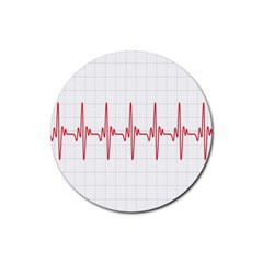 Cardiogram Vary Heart Rate Perform Line Red Plaid Wave Waves Chevron Rubber Round Coaster (4 Pack)  by Mariart