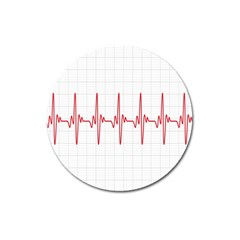 Cardiogram Vary Heart Rate Perform Line Red Plaid Wave Waves Chevron Magnet 3  (round) by Mariart
