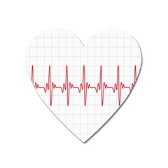 Cardiogram Vary Heart Rate Perform Line Red Plaid Wave Waves Chevron Heart Magnet by Mariart