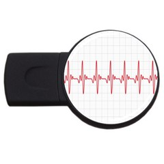 Cardiogram Vary Heart Rate Perform Line Red Plaid Wave Waves Chevron Usb Flash Drive Round (2 Gb) by Mariart