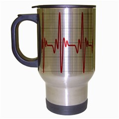 Cardiogram Vary Heart Rate Perform Line Red Plaid Wave Waves Chevron Travel Mug (silver Gray) by Mariart