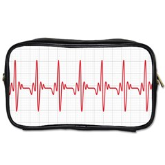 Cardiogram Vary Heart Rate Perform Line Red Plaid Wave Waves Chevron Toiletries Bags 2 Side by Mariart