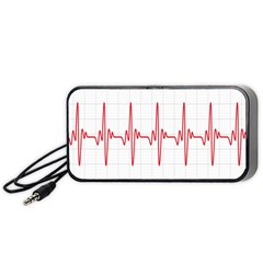 Cardiogram Vary Heart Rate Perform Line Red Plaid Wave Waves Chevron Portable Speaker (black) by Mariart