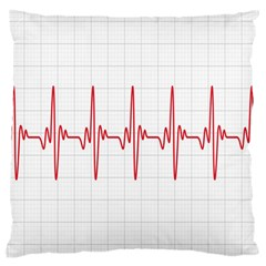 Cardiogram Vary Heart Rate Perform Line Red Plaid Wave Waves Chevron Large Cushion Case (two Sides) by Mariart