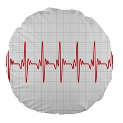 Cardiogram Vary Heart Rate Perform Line Red Plaid Wave Waves Chevron Large 18  Premium Round Cushions by Mariart