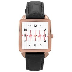 Cardiogram Vary Heart Rate Perform Line Red Plaid Wave Waves Chevron Rose Gold Leather Watch  by Mariart
