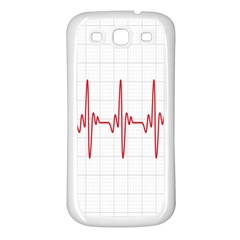 Cardiogram Vary Heart Rate Perform Line Red Plaid Wave Waves Chevron Samsung Galaxy S3 Back Case (white) by Mariart