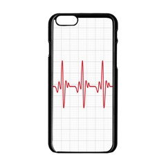 Cardiogram Vary Heart Rate Perform Line Red Plaid Wave Waves Chevron Apple Iphone 6/6s Black Enamel Case by Mariart