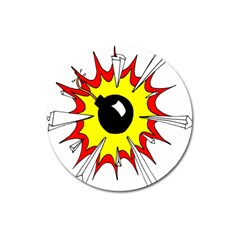 Book Explosion Boom Dinamite Magnet 3  (round) by Mariart
