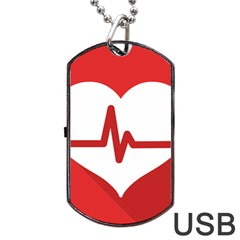 Cardiologist Hypertension Rheumatology Specialists Heart Rate Red Love Dog Tag Usb Flash (one Side) by Mariart