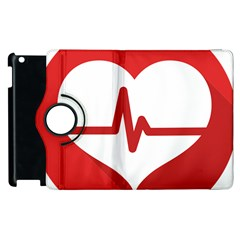 Cardiologist Hypertension Rheumatology Specialists Heart Rate Red Love Apple Ipad 3/4 Flip 360 Case by Mariart