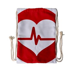 Cardiologist Hypertension Rheumatology Specialists Heart Rate Red Love Drawstring Bag (small) by Mariart