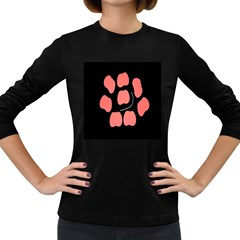 Craft Pink Black Polka Spot Women s Long Sleeve Dark T Shirts by Mariart