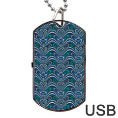 Boomarang Pattern Wave Waves Chevron Green Line Dog Tag Usb Flash (one Side) by Mariart