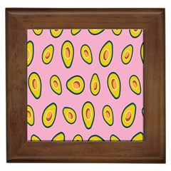Fruit Avocado Green Pink Yellow Framed Tiles by Mariart