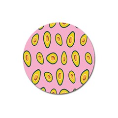 Fruit Avocado Green Pink Yellow Magnet 3  (round) by Mariart