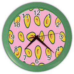 Fruit Avocado Green Pink Yellow Color Wall Clocks by Mariart