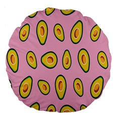 Fruit Avocado Green Pink Yellow Large 18  Premium Flano Round Cushions by Mariart
