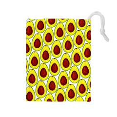 Avocados Seeds Yellow Brown Greeen Drawstring Pouches (large)  by Mariart