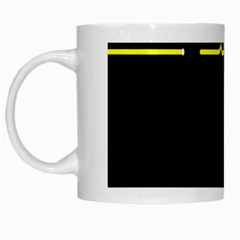 Heart Monitor Screens Pulse Trace Motion Black Blue Yellow Waves White Mugs by Mariart