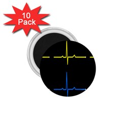 Heart Monitor Screens Pulse Trace Motion Black Blue Yellow Waves 1 75  Magnets (10 Pack)  by Mariart