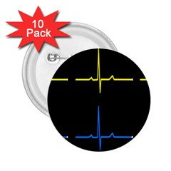 Heart Monitor Screens Pulse Trace Motion Black Blue Yellow Waves 2 25  Buttons (10 Pack)  by Mariart