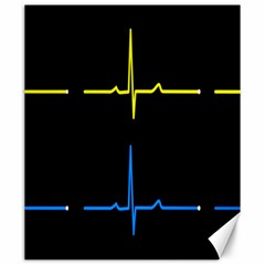 Heart Monitor Screens Pulse Trace Motion Black Blue Yellow Waves Canvas 20  X 24   by Mariart