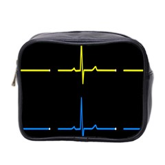 Heart Monitor Screens Pulse Trace Motion Black Blue Yellow Waves Mini Toiletries Bag 2 Side by Mariart