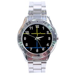 Heart Monitor Screens Pulse Trace Motion Black Blue Yellow Waves Stainless Steel Analogue Watch by Mariart