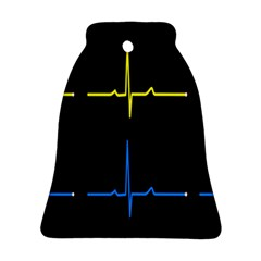 Heart Monitor Screens Pulse Trace Motion Black Blue Yellow Waves Bell Ornament (two Sides) by Mariart