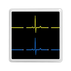 Heart Monitor Screens Pulse Trace Motion Black Blue Yellow Waves Memory Card Reader (square)  by Mariart