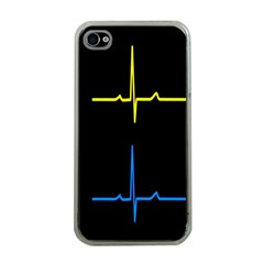 Heart Monitor Screens Pulse Trace Motion Black Blue Yellow Waves Apple Iphone 4 Case (clear) by Mariart