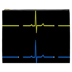 Heart Monitor Screens Pulse Trace Motion Black Blue Yellow Waves Cosmetic Bag (xxxl)  by Mariart