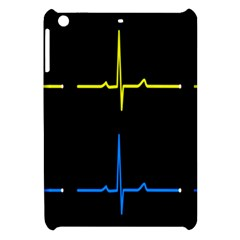 Heart Monitor Screens Pulse Trace Motion Black Blue Yellow Waves Apple Ipad Mini Hardshell Case by Mariart