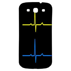 Heart Monitor Screens Pulse Trace Motion Black Blue Yellow Waves Samsung Galaxy S3 S Iii Classic Hardshell Back Case by Mariart