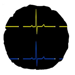 Heart Monitor Screens Pulse Trace Motion Black Blue Yellow Waves Large 18  Premium Round Cushions by Mariart