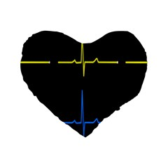 Heart Monitor Screens Pulse Trace Motion Black Blue Yellow Waves Standard 16  Premium Heart Shape Cushions by Mariart