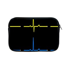 Heart Monitor Screens Pulse Trace Motion Black Blue Yellow Waves Apple Ipad Mini Zipper Cases by Mariart