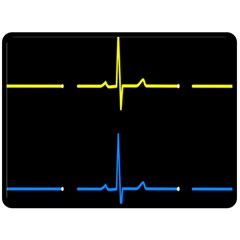 Heart Monitor Screens Pulse Trace Motion Black Blue Yellow Waves Double Sided Fleece Blanket (large)  by Mariart