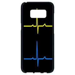Heart Monitor Screens Pulse Trace Motion Black Blue Yellow Waves Samsung Galaxy S8 Black Seamless Case by Mariart