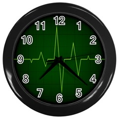 Heart Rate Green Line Light Healty Wall Clocks (black) by Mariart
