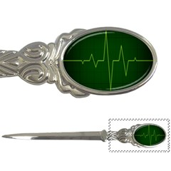 Heart Rate Green Line Light Healty Letter Openers by Mariart