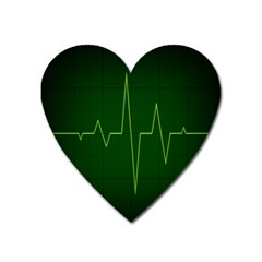 Heart Rate Green Line Light Healty Heart Magnet by Mariart