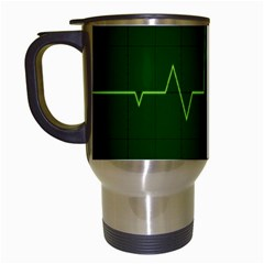Heart Rate Green Line Light Healty Travel Mugs (white) by Mariart