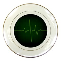 Heart Rate Green Line Light Healty Porcelain Plates by Mariart