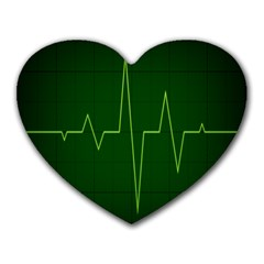 Heart Rate Green Line Light Healty Heart Mousepads by Mariart