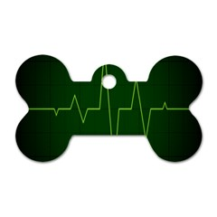 Heart Rate Green Line Light Healty Dog Tag Bone (two Sides) by Mariart